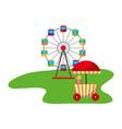 ferris wheel food booth carnival fun fair vector image vector image