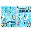 global and media social network linear vector image vector image