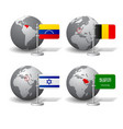gray earth globes with designation of venezuela vector image vector image