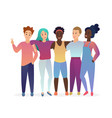 group of young five happy posing hugging vector image vector image