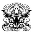 hand drawn squid isolated vector image vector image