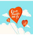 Heart balloons in the sky vector image vector image
