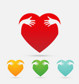 heart hug four color on white background vector image