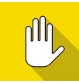 Icon hand on a yellow background vector image vector image