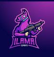 ilama mascot logo design with modern vector image