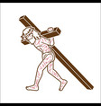 jesus christ carrying cross cartoon graphic vector image vector image