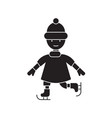 kid skating black concept icon kid skating vector image
