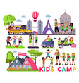 kids camp children camper characters and vector image vector image