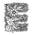 letter e dudling drawing mandala vector image