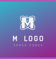 m initial space force logo design galaxy rocket vector image