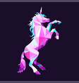 magic unicorn in low poly style geometric vector image vector image