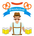 man at the oktoberfest festival vector image vector image