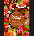 meat and sausages butcher delicatessen products vector image vector image