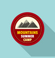 mountains summer camp logo flat style vector image vector image