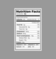 nutrition facts label vector image
