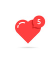red heart like simple notification vector image vector image