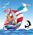 Sailor on boat vector image vector image