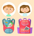 schoolbags and school children avatars stationery vector image vector image