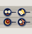 set fried eggs with pancakes and sausages vector image