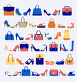 set icons of fashion bags and shoes vector image
