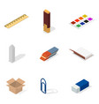 set of icons office and school flat 3d isometric vector image vector image