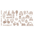 set of isolated summer icons for recreation vector image vector image
