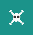 simple cartoon skull and crossbones icon vector image