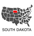 state of south dakota on map of usa vector image vector image