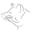 stylized fox face hand drawn linear sketch black vector image