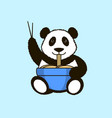 the panda is eating noodles vector image
