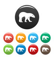 walking polar bear icons set color vector image