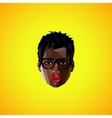 with a black female face with eyeglasses polygonal vector image vector image