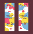 woman face set of banners vector image
