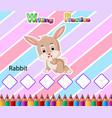worksheet writing practice alphabet r for rabbit vector image vector image