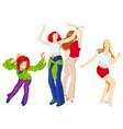 four dancing girls vector image