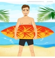 professional surfer holding a surf board vector image