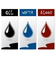 Set of flyers with drops of oil water and blood vector image