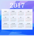 2017 calendar design with blue abstract shapes vector image