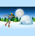 a man ice skate winter backgrounf vector image