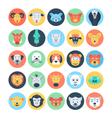 animal avatars flat icons 3 vector image