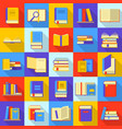 books library education icons set flat style vector image vector image