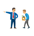 boss director worker dismissing person from duty vector image