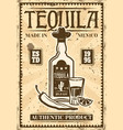 bottle of tequila and glass retro poster vector image vector image