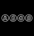 capital letters a b c d from white stripe vector image vector image