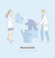 cheerful doctors assembling human head shaped vector image