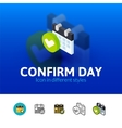 Confirm day icon in different style vector image vector image