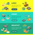 cooking or preparation food banner horizontal set vector image vector image