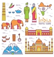 Country India travel vacation guide of goods vector image vector image