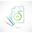 drawing apple grunge icon vector image vector image