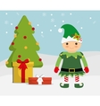 elf cartoon and pine tree icon Merry Christmas vector image vector image
